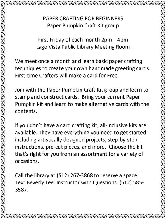 PAPER CRAFTING FOR BEGINNERS First Friday .jpg
